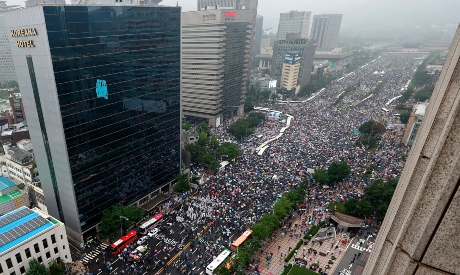 Protesters hold a rally against the government in Seoul, South Korea,