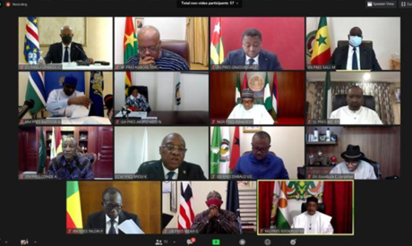 A screenshot shows a teleconference during the extraordinary Summit of the Economic Community of Wes