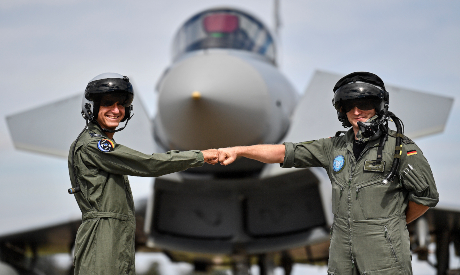 A pilot from Israel (L) and a pilot from Germany (R)