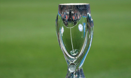 FILE PHOTO:  The UEFA Super Cup on display before the match REUTERS