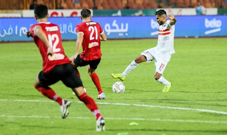 Zamalek players in control of  all through the game against arch-rivals Ahly