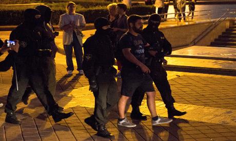 Law enforcement officers detain an opposition in Belarus