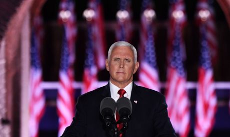 US Vice President Mike Pence speaks during the third night of the Republican National Convention at