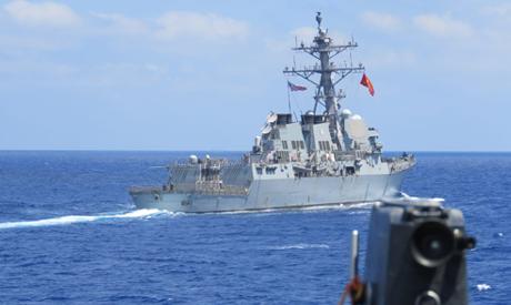 US destroyer USS Winston S. Churchill, rear, along with Turkish frigate TCG Barbaros conduct maritim