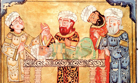 A doctor visits a patient from a 14th-century Persian copy of the Maqamat