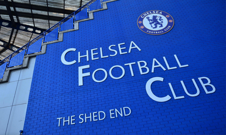 (FILES) This file photo taken on February 27, 2019 shows the Chelsea logo pictured on the wall of th