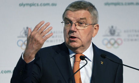 File photo, International Olympic Committee President Thomas Bach speaks at the Australian Olympic C