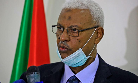 Tagelsir al-Hebr, Sudan's Attorney General, speaks during a press conference in the capital Khartoum