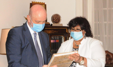 (L-r) Spanish Ambassador Ramon Gil Casares and Minister of Culture Ines Abdel-Dayem   photo courtesy