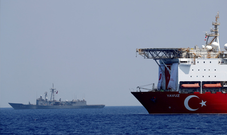 FILE PHOTO: The Turkish drilling vessel Yavuz is seen being escorted by a Turkish Navy frigate in th