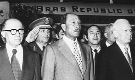 Sadat landing at Ben Gurion Airport on 19 November 1977