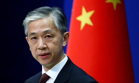 FILE PHOTO: Chinese Foreign Ministry spokesman Wang Wenbin speaks during a news conference in Beijin
