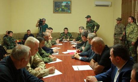 The Karabakh leader, Arayik Harutyunyan, chairs a Security Council meeting in Nagorny Karabakh