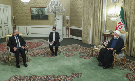 A handout picture provided by the Iranian presidency on September 26, 2020, shows President Hassan R