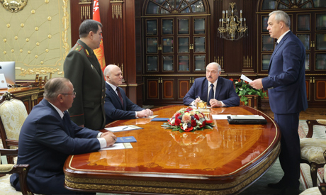Belarusian President Alexander Lukashenko meets with newly appointed head of the KGB security servic
