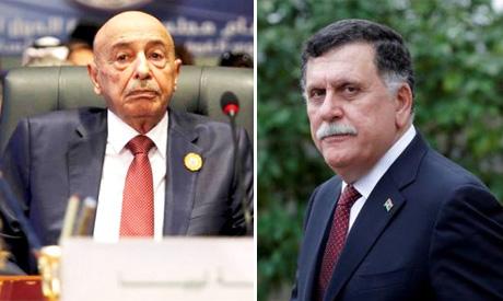 R- Aguila Saleh. L-Fayez Sarraj