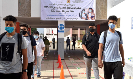 Students arrive to school on the first day of classes amid measures put in place by Moroccan authori