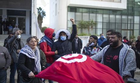 Tunisia protests January 2021 AP Photo