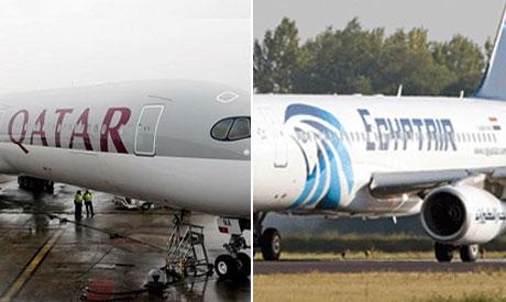 Egypt Air(L) and Qatar airways(R)