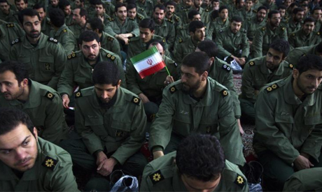 File photo: Members of the revolutionary guard attend the anniversary ceremony of Iran