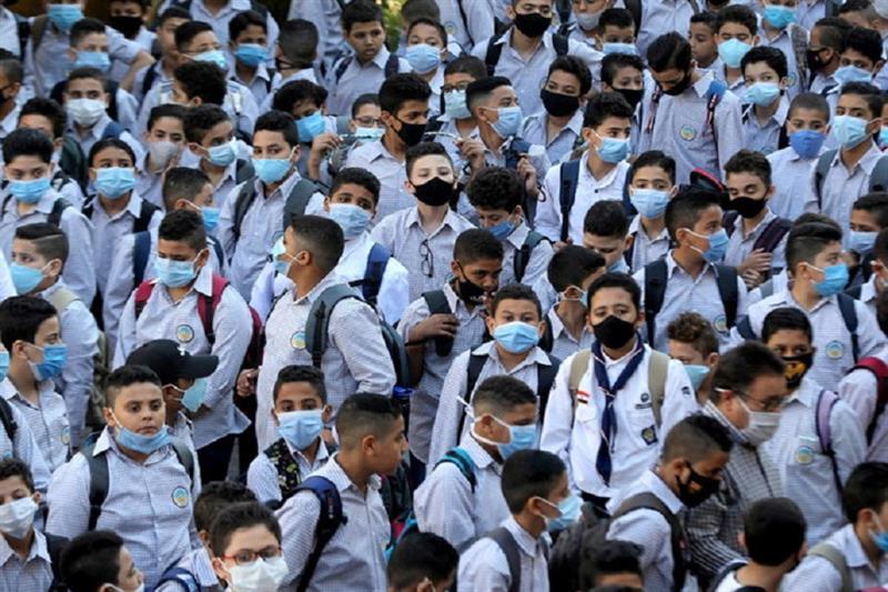 Students wearing protective masks