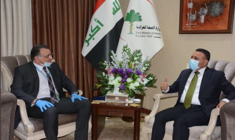 WHO Representative Dr Adham Ismail with Iraqi Minister of Health Dr. Hassan Al-Tamimi