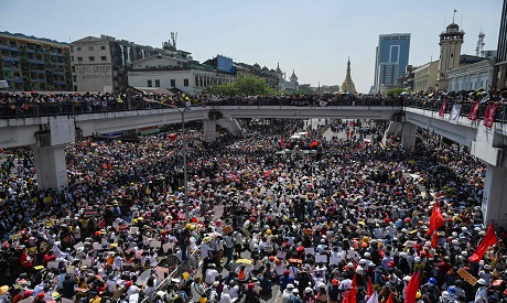 Protests against a coup in Myanmar (Reuters)