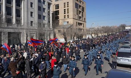 Protestors demand resignation of Armenian PM Pashinyan in Yerevan. REUTERS
