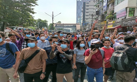 Protests against a coup in Myanmar