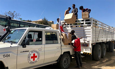 Red Cross and volunteers