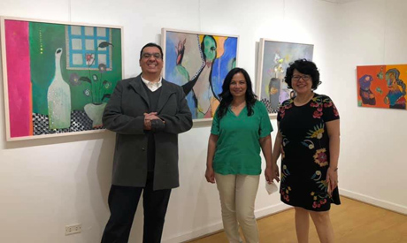from left: Mohamed Al-Gebali, owner of Cordoba Art Gallery, visual artists Amin and Khallaf
