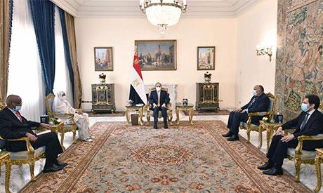 President Abdel Fattah El-Sisi and Minister of Foreign Affairs of Sudan Dr. Mariam al-Sadiq al-Mahdi