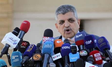 Osama Rabie, Chairman of the Suez Canal Authority, talks during a news conference in Suez, Egypt Mar