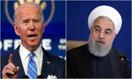 Joe Biden and Hassan Rouhani