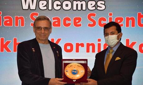 Russian cosmonaut Mikhail Kornienko honoured by Youth and Sports Minister Ashraf Sobhi  (photo credi