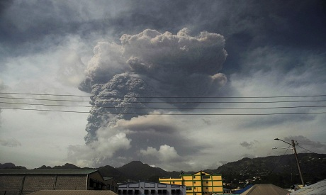 Ash covers roads a day after the La Soufriere volcano erupted in St Vincent. REUTERS