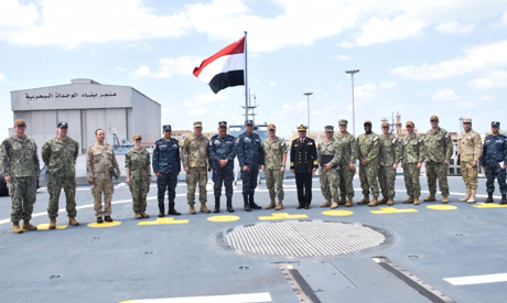 Egyptian navy's commander, Lieutenant General Ahmed Khaled, meets Vice Admiral Samuel Paparo, Comman