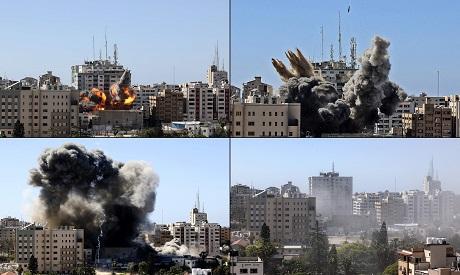 Jala Tower in Gaza destroyed by an Israeli air strike. AFP
