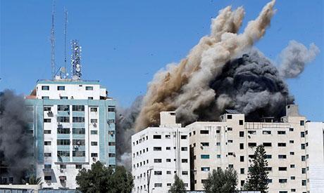 The tower housing AP, Al Jazeera offices