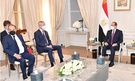 President Abdel-Fattah El-Sisi and French Minister of Economy  Bruno Le Maire
