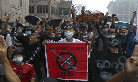 Myanmar:  Anti-coup protesters (AP Photo)