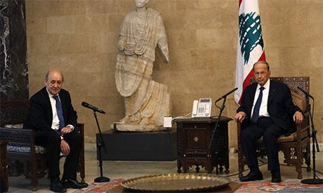 Jean-Yves Le Drian and Michel Aoun