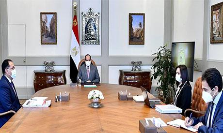 President Abdel Fattah El-Sisi,Mostafa Madbouli & Maya Morsy