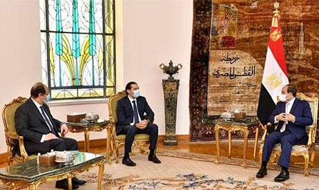 President Abdel-Fattah El-Sisi,Abbas Kamel &Saad Hariri