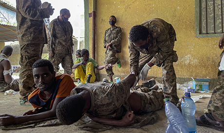 Wounded members of the Ethiopian National Defense Force who were captured by Tigray forces are given