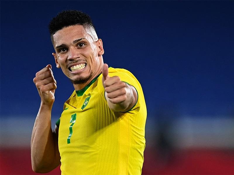 Brazil s midfielder Paulinho celebrates after he scored his side s fourth goal during the Tokyo 2020