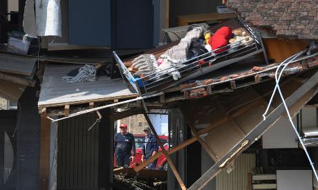 Destroyed buildings following floodsin Belgium