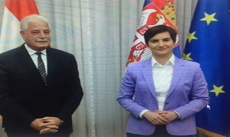 Egypt's Governor of South Sinai Khaled Fouda during his meeting with Serbia's Prime Minister Ana Brn