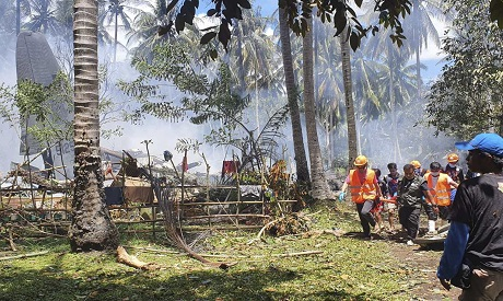 Philippine military plane crash. AP