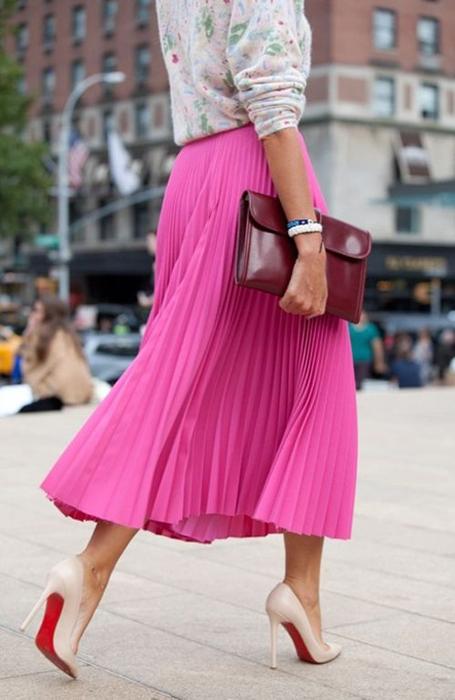 Midi-pleated skirt